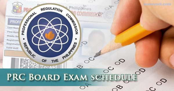 prc board exam schedule 2018